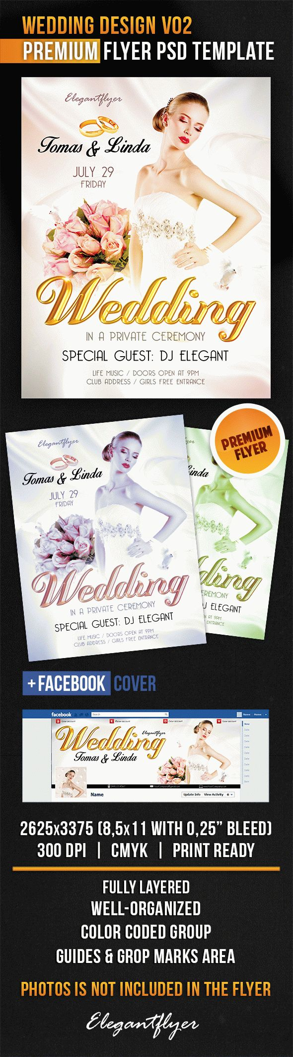 Wedding Design V02 – Flyer PSD Template + Facebook Cover