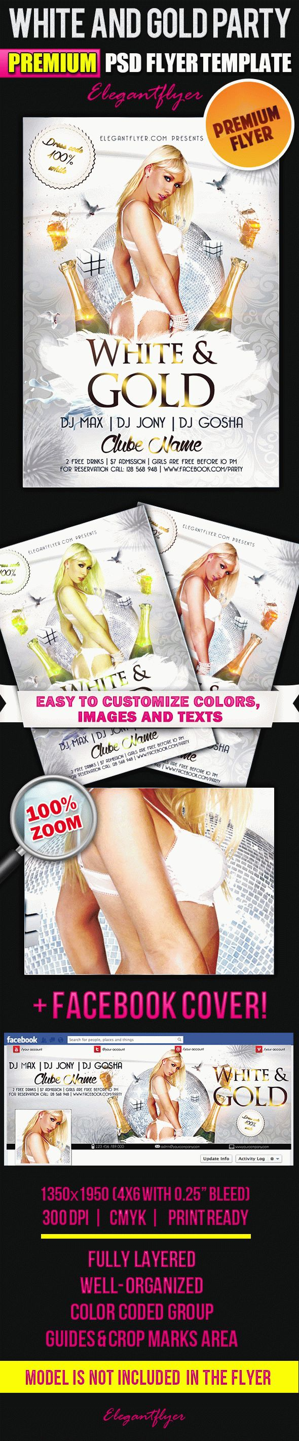 Flyer Template for White and Gold