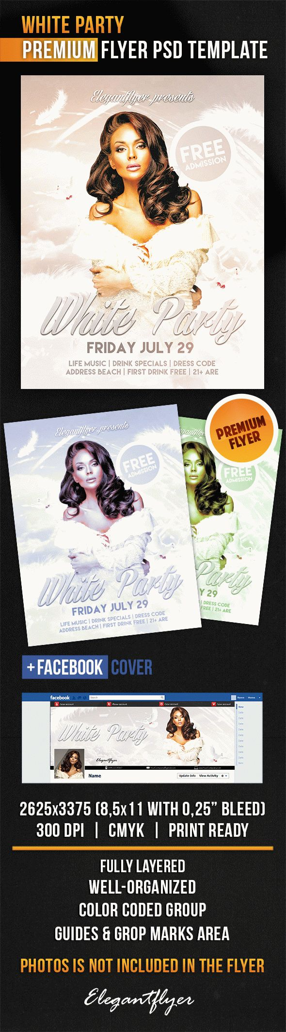 White Feather Party Dress PSD Flyer