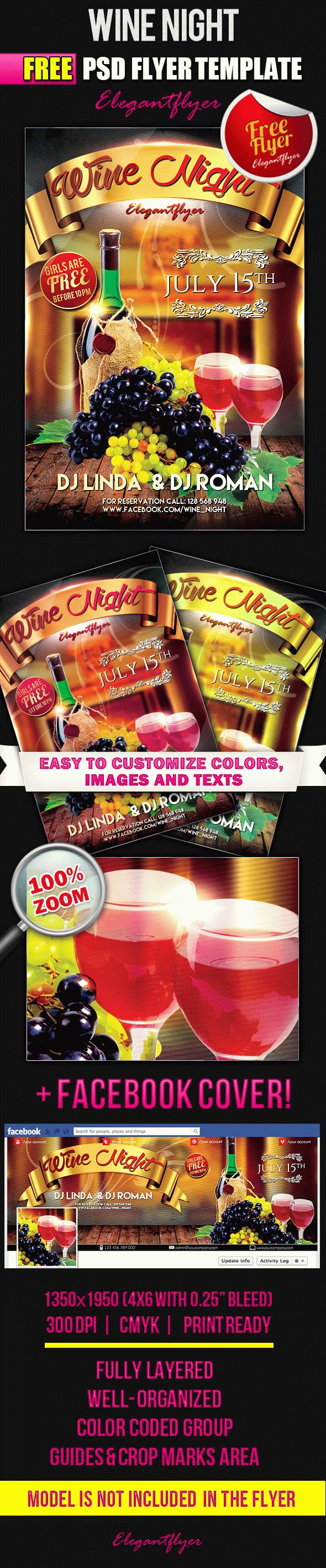 Wine Night – Free Flyer PSD Template + Facebook Cover