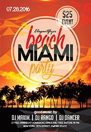 Beach Cocktail Party – Flyer PSD Template + Facebook Cover