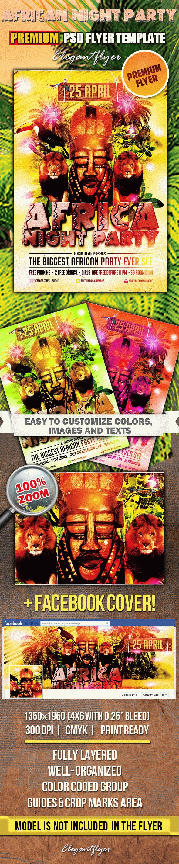 Africa Night Party – PSD Flyer Templates + Facebook Cover