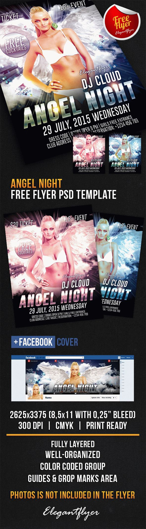 Angel Night – Free Flyer PSD Template + Facebook Cover