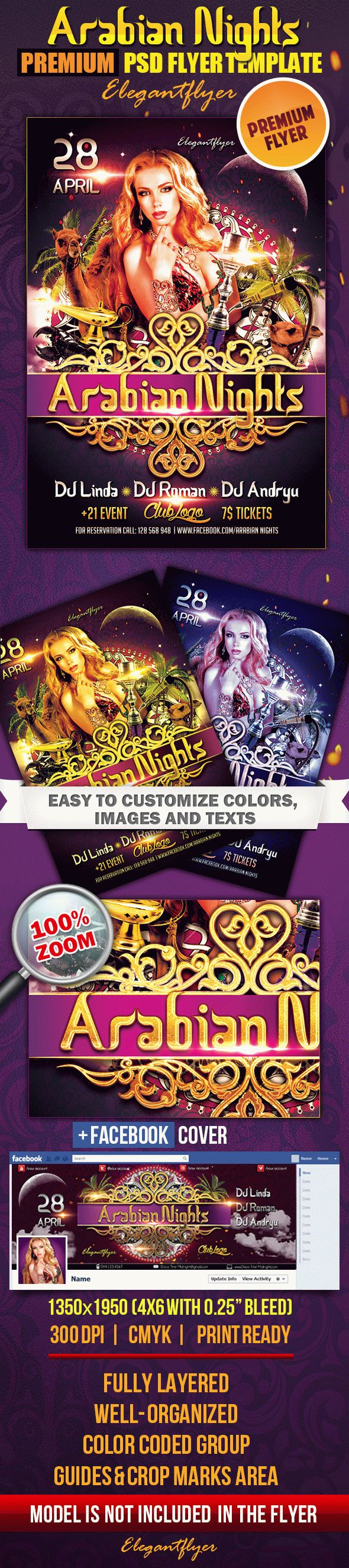 Arabian Nights – PSD Flyer Template + Facebook Cover