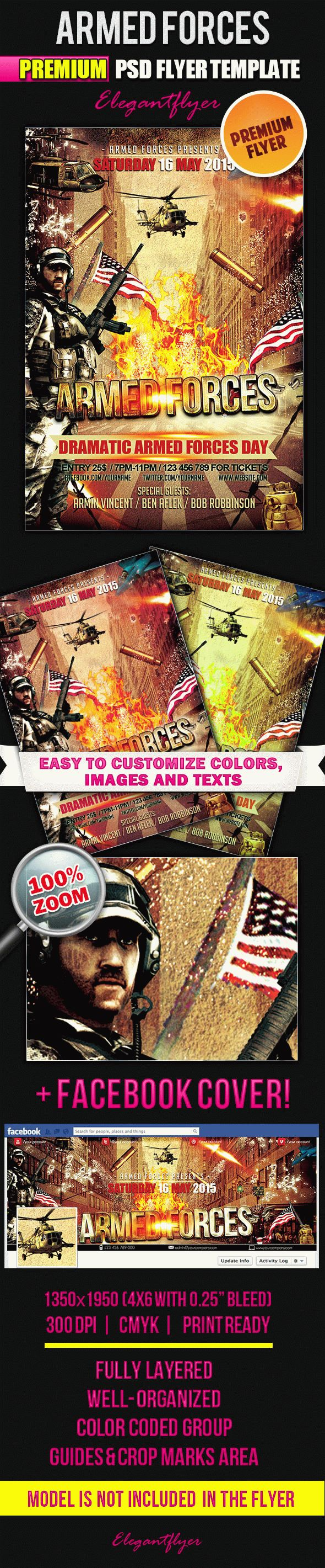Armed Forces Day – Flyer PSD Template + Facebook Cover