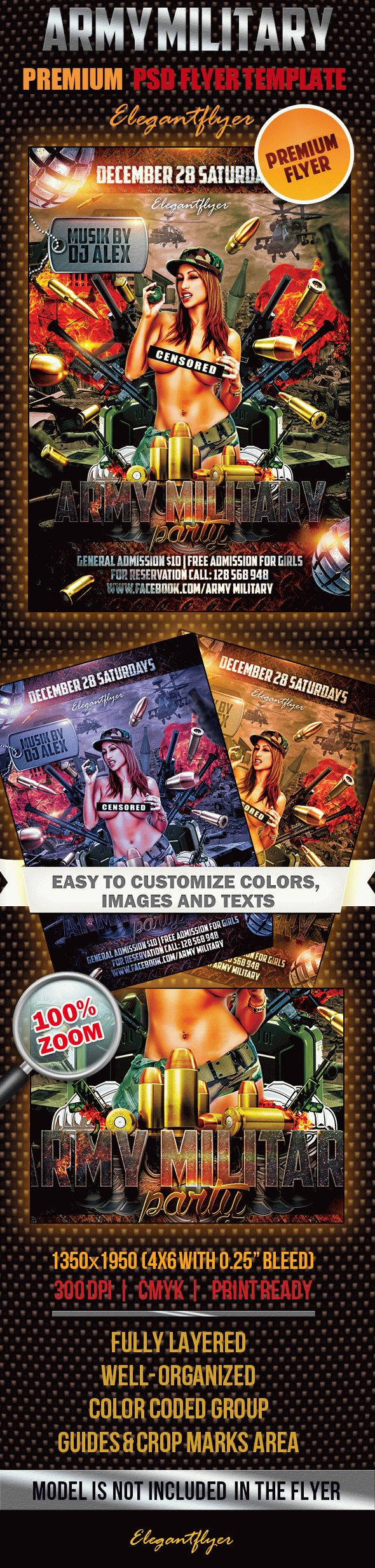 Army Military Party Poster Template