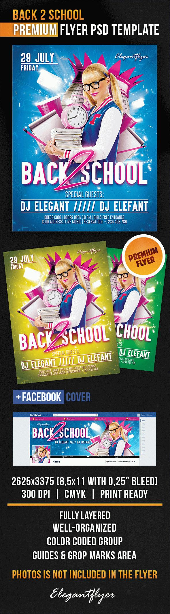 Back 2 School – Flyer PSD Template + Facebook Cover