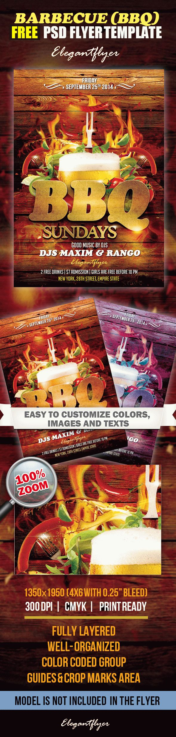 barbecue bbq   u2013 free flyer psd template  u2013 by elegantflyer