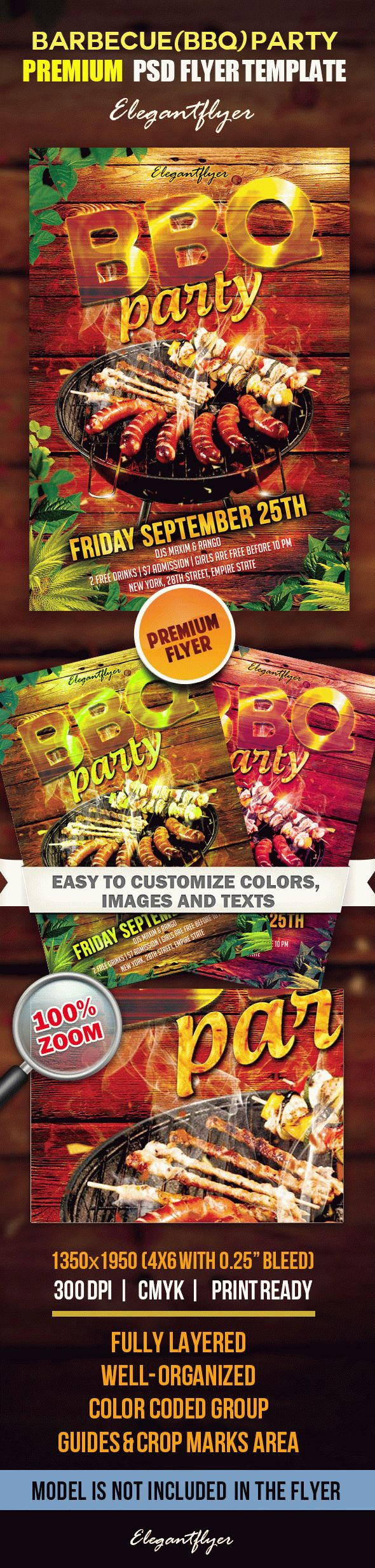 Barbecue (bbq) party – Premium Сlub Flyer PSD Template