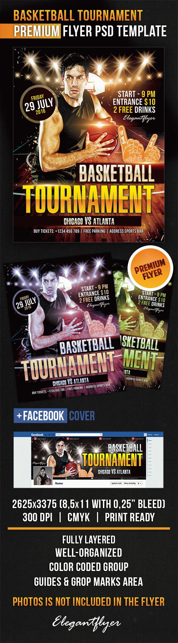 BasketBall Tournament – Flyer PSD Template