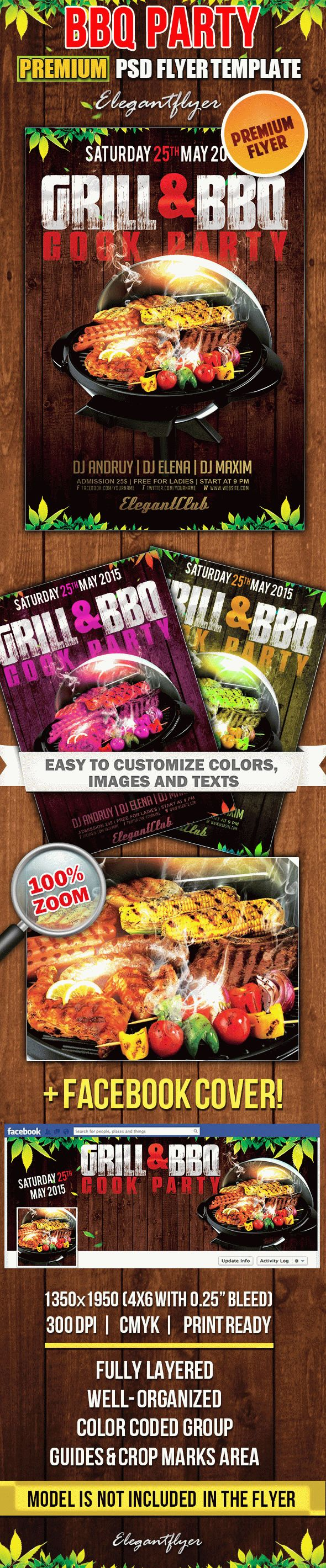 BBQ Party – Flyer PSD Template + Facebook Cover