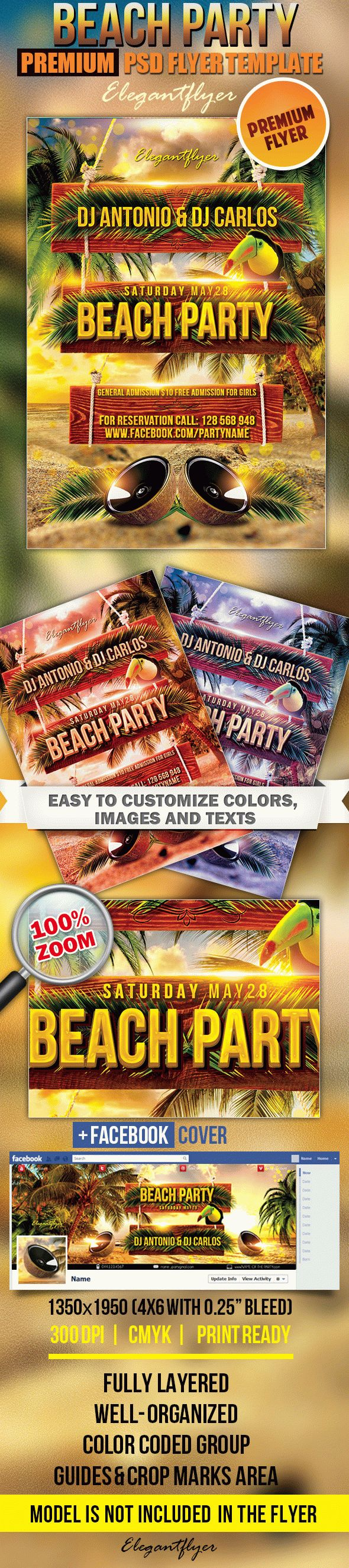 Beach Party 2 – Flyer PSD Template + Facebook Cover