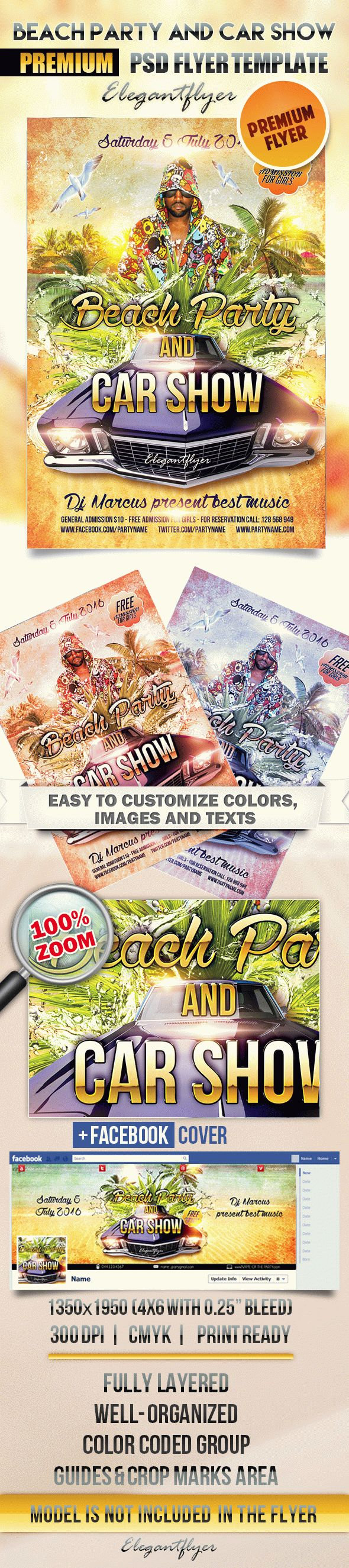 Beach Party and Car Show – Flyer PSD Template + Facebook Cover