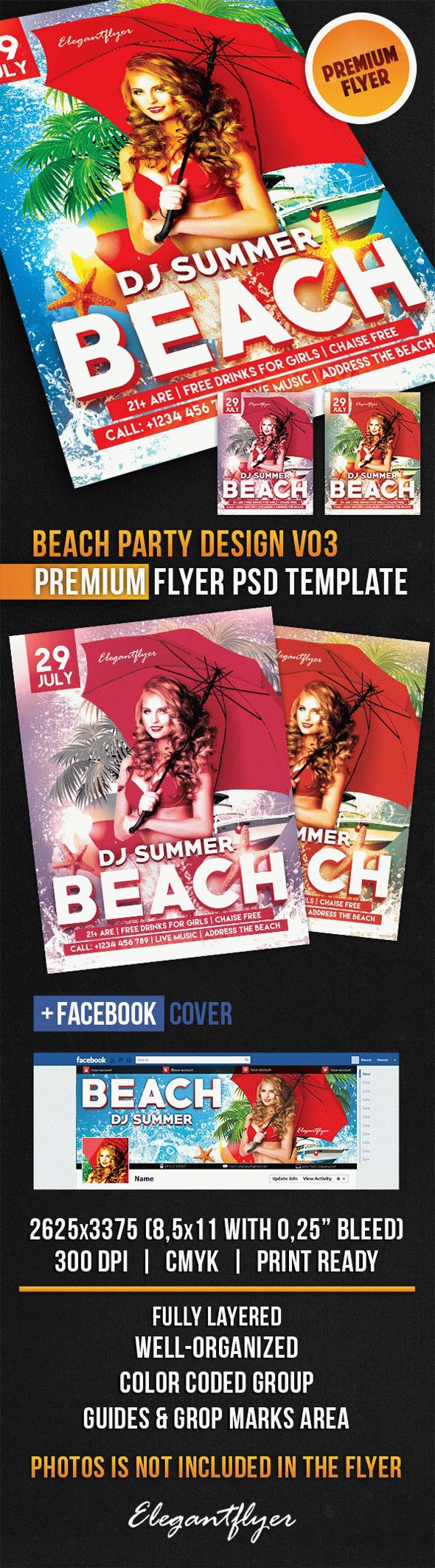 Beach Party Design V03 – Flyer PSD Template