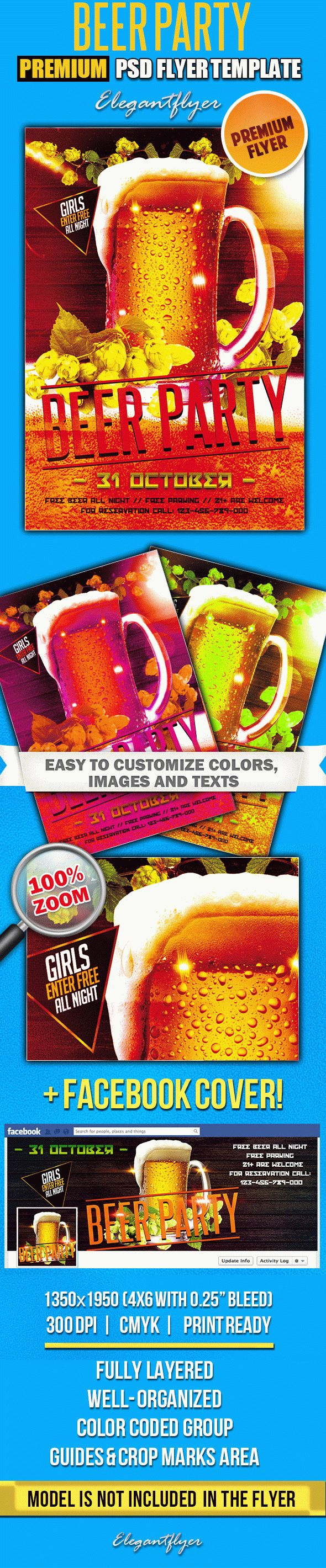Beer Party – PSD Flyer Templates + Facebook Cover