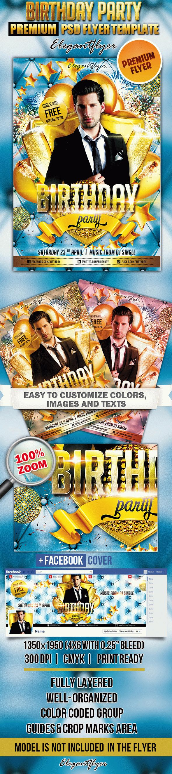 Birthday Party_4 – Flyer PSD Template + Facebook Cover