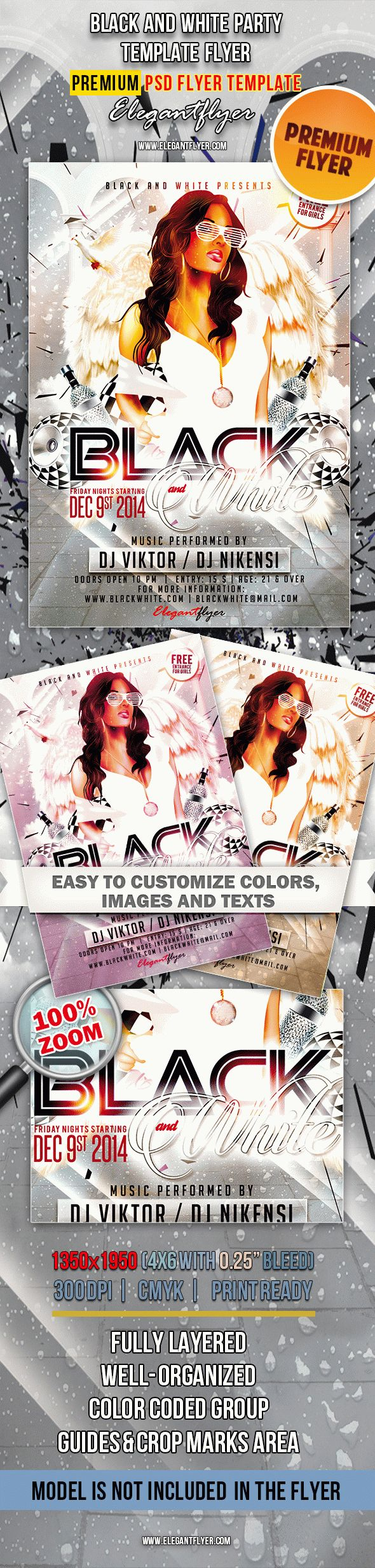 black and white party flyer in psd by elegantflyer. Black Bedroom Furniture Sets. Home Design Ideas