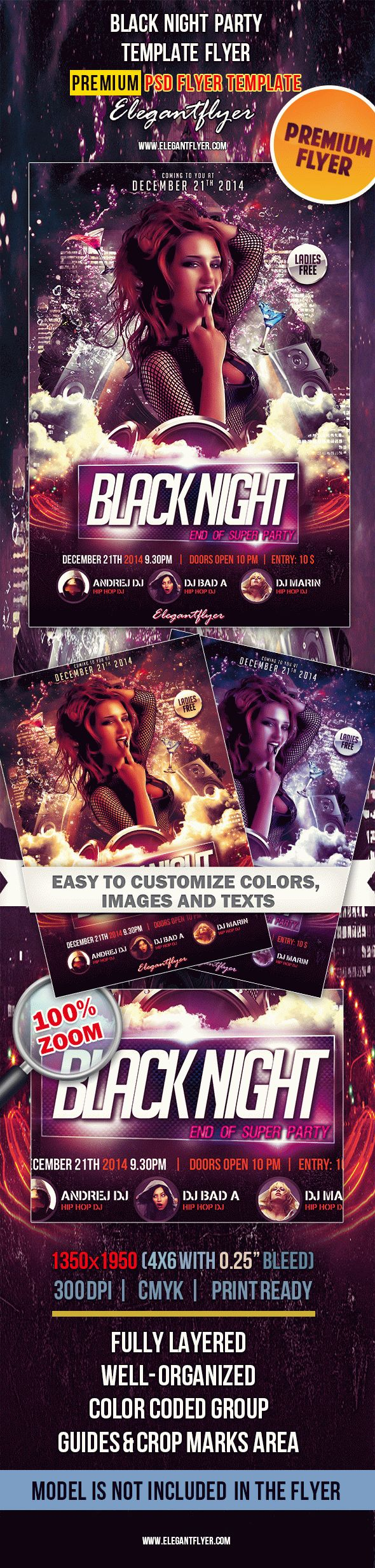Black Night Party – Premium Club flyer PSD Template