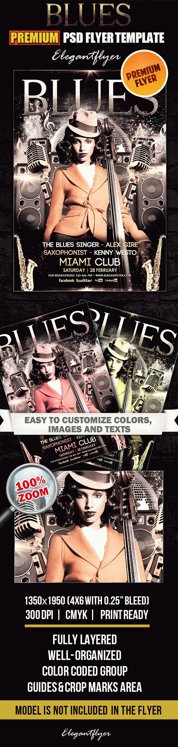 Blues – Premium Club flyer PSD Template