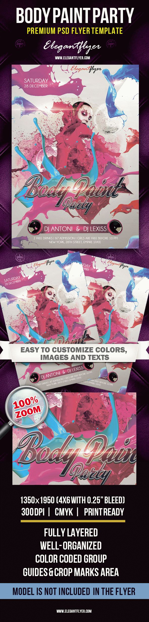 Body Paint Party – Premium Club flyer PSD Template