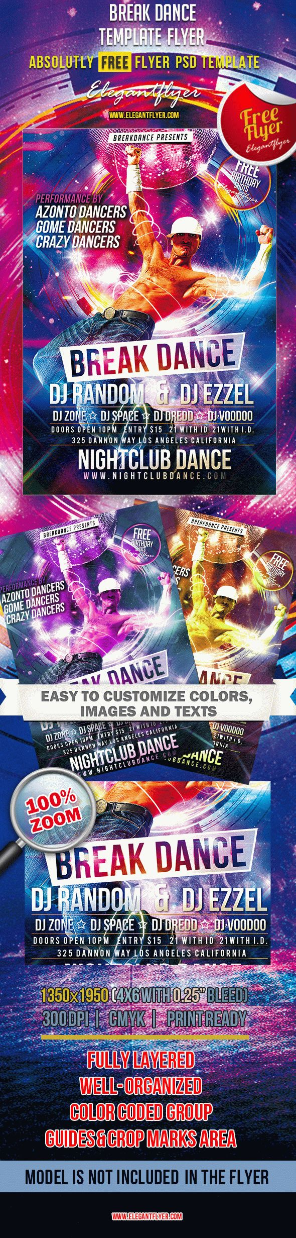 break dance  u2013 free club and party flyer psd template  u2013 by