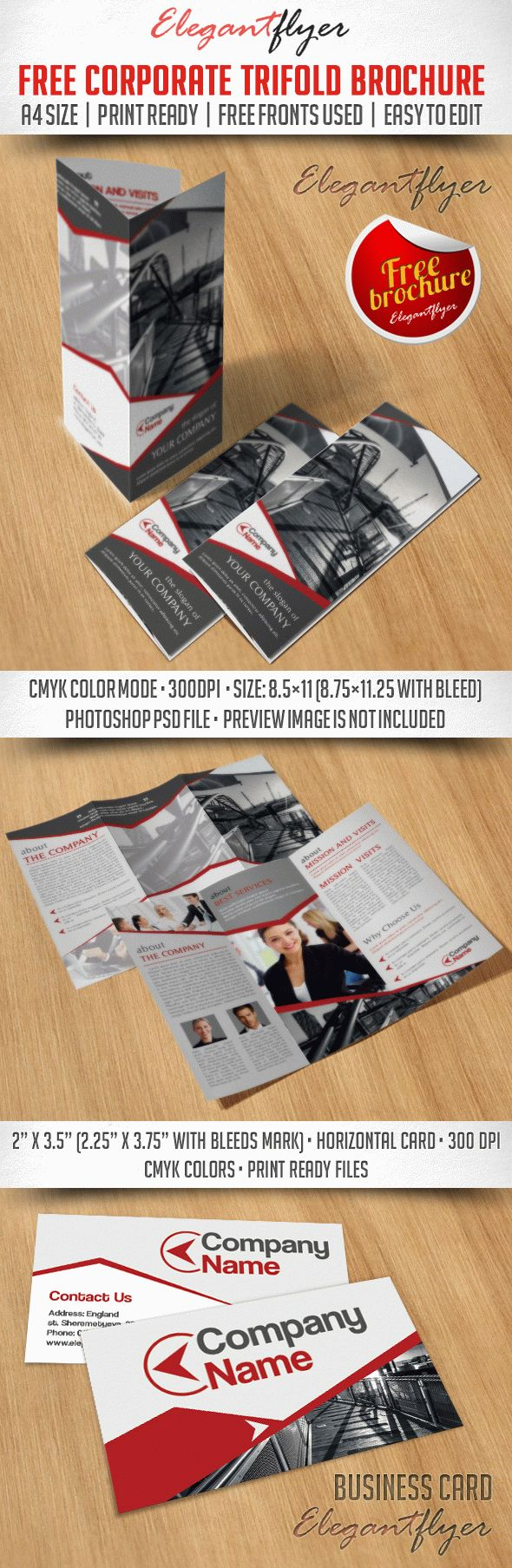 Business Corporate Tri-Fold Brochure – Free PSD Template