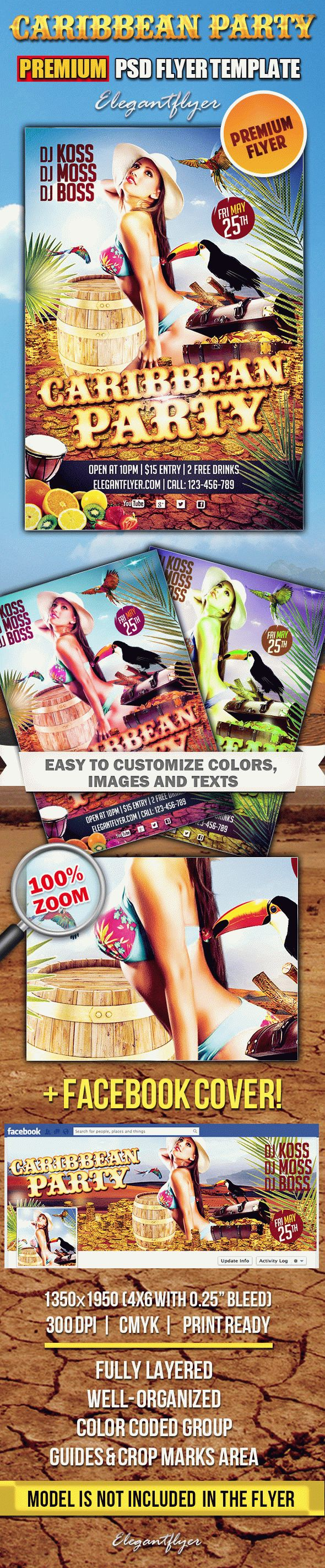 Caribbean Party – Premium Club flyer PSD Template + Facebook Cover
