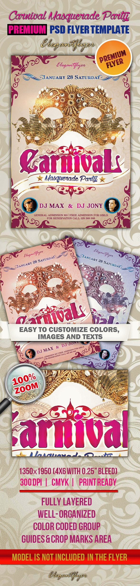 Carnival Masquerade Party – Premium Club flyer PSD Template