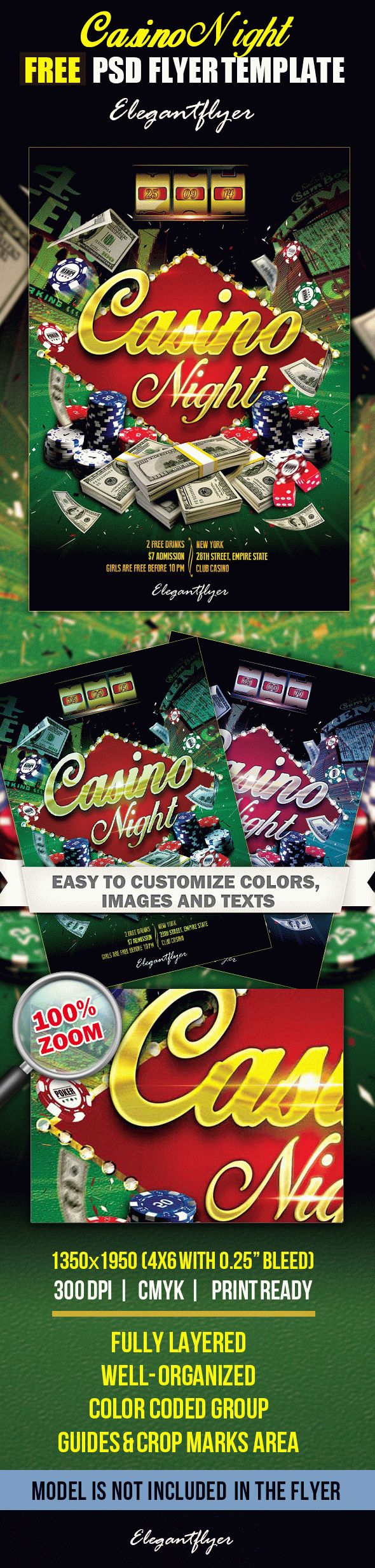 free casino party flyer templates