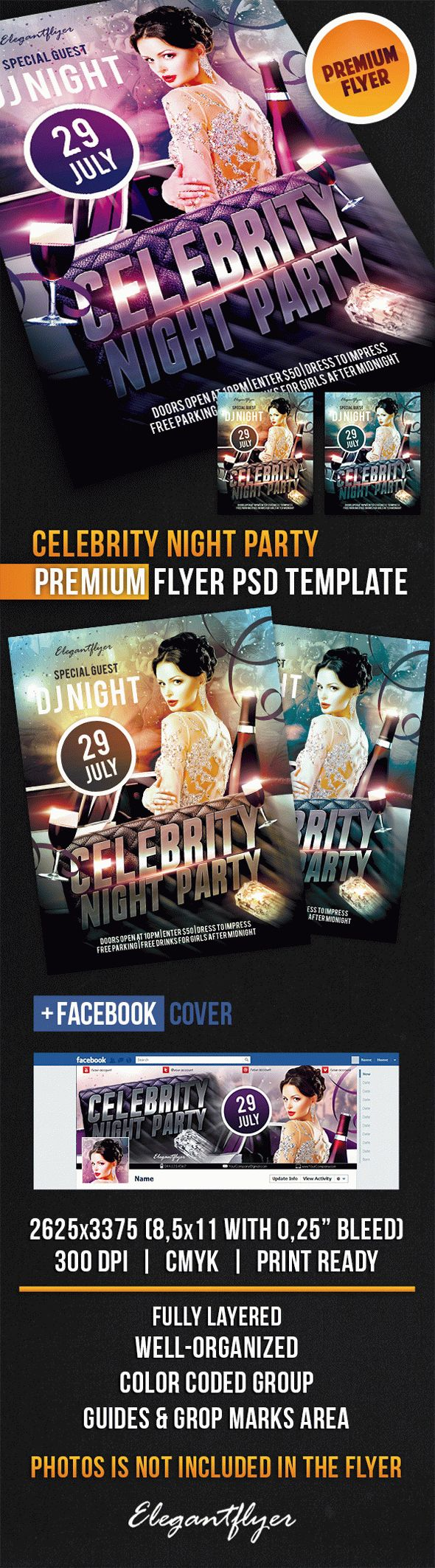 Celebrity Night Party – Flyer PSD Template + Facebook Cover