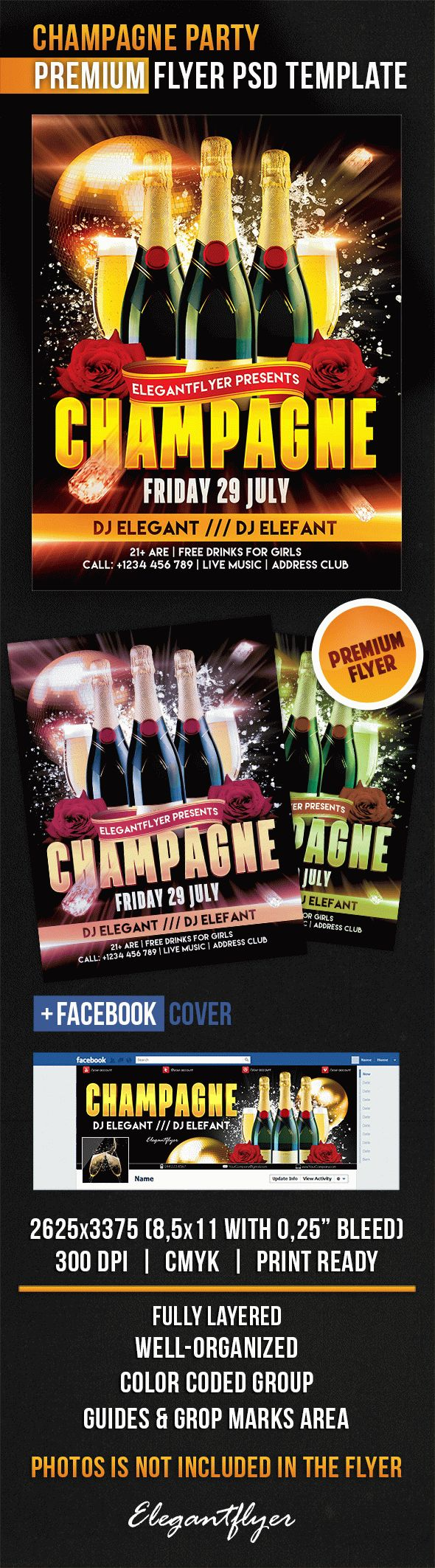 Champagne Party – Flyer PSD Template