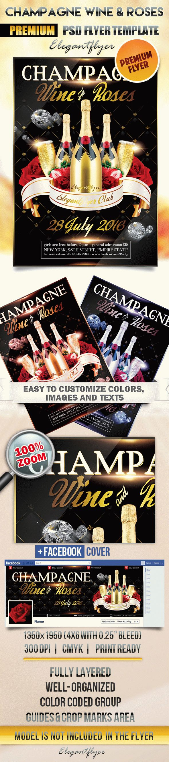 Champagne Wine & Roses – Flyer PSD Template + Facebook Cover