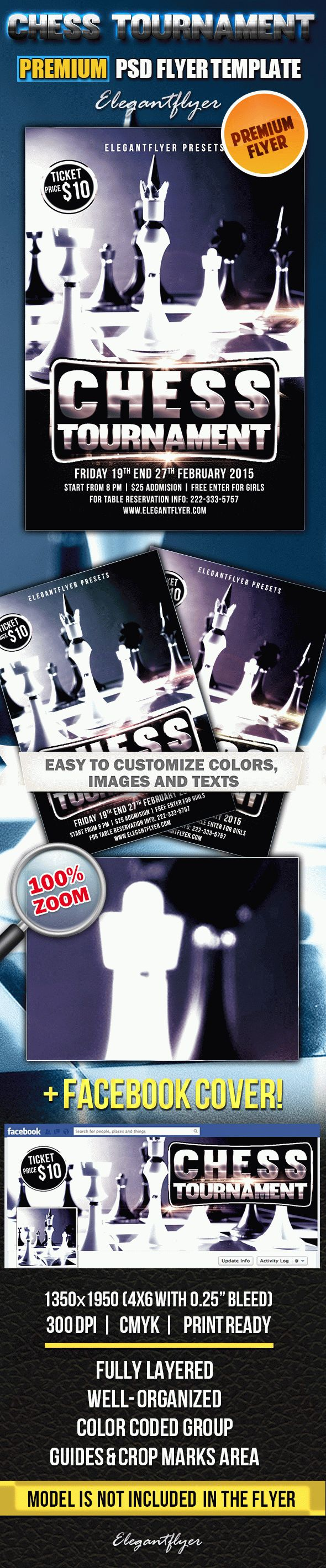 Chess Tournament – PSD Flyer Templates + Facebook Cover