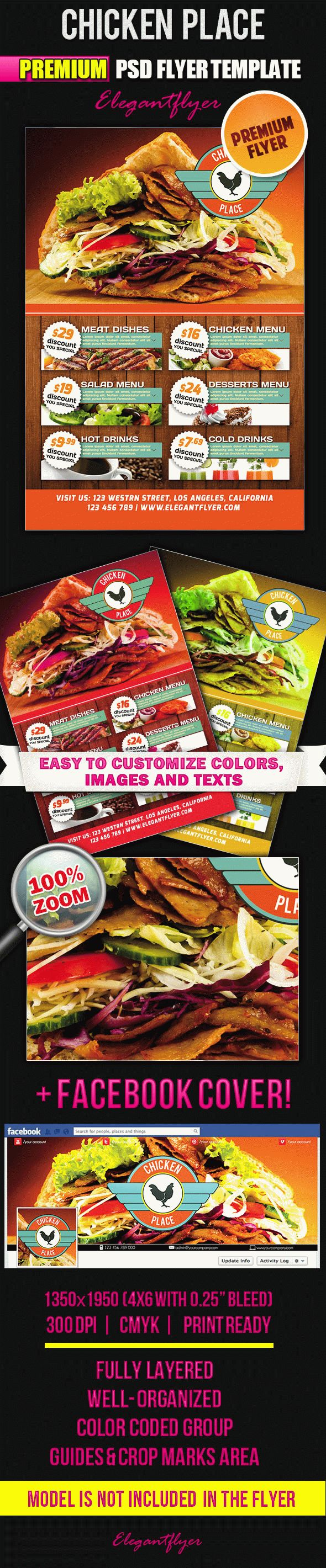 Chicken Place – Flyer PSD Template + Facebook Cover