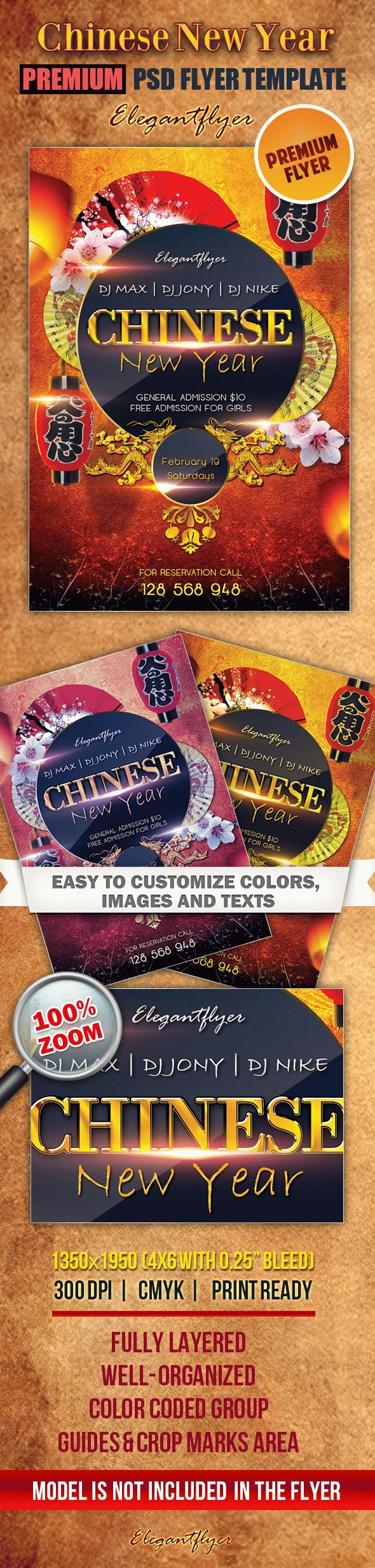 Chinese New Year 5 – Premium Club flyer PSD Template