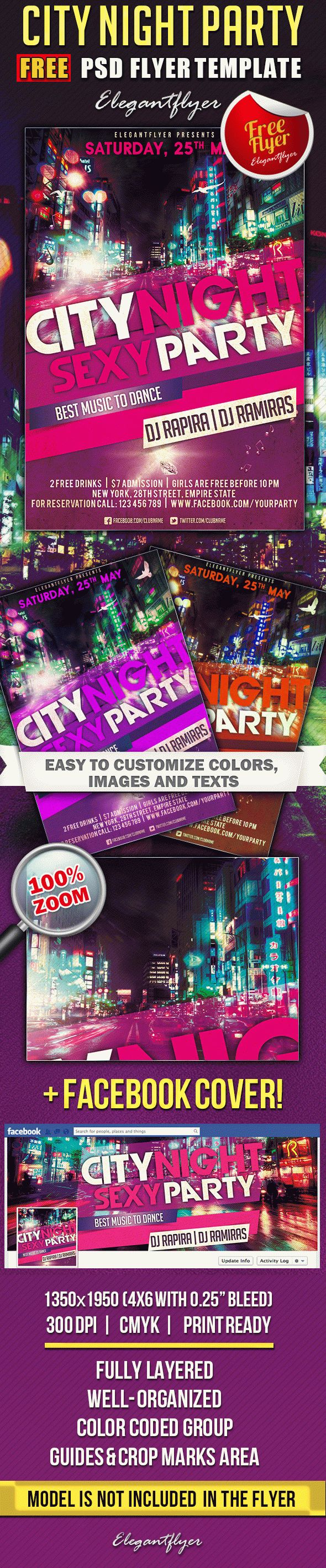 City Night Party – Free Flyer PSD Template + Facebook Cover