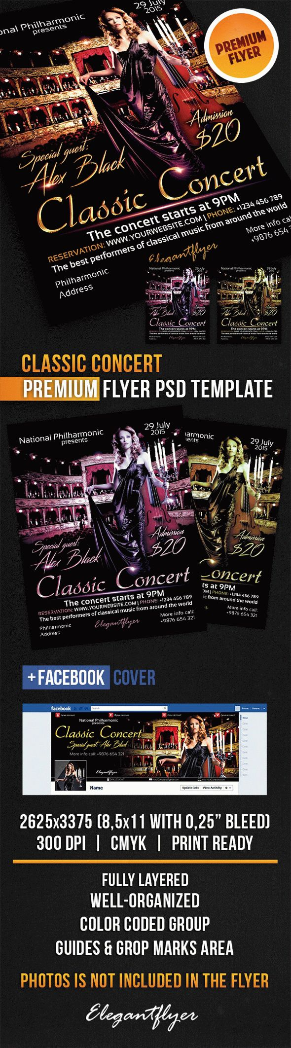 Classic Concert – Flyer PSD Template + Facebook Cover