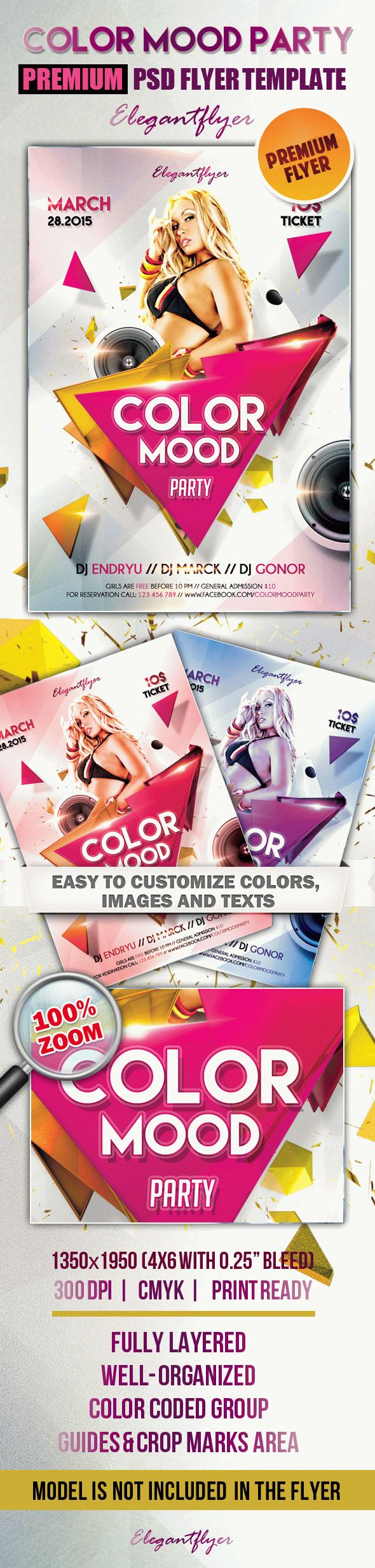 Color Mood party – Premium Club flyer PSD Template