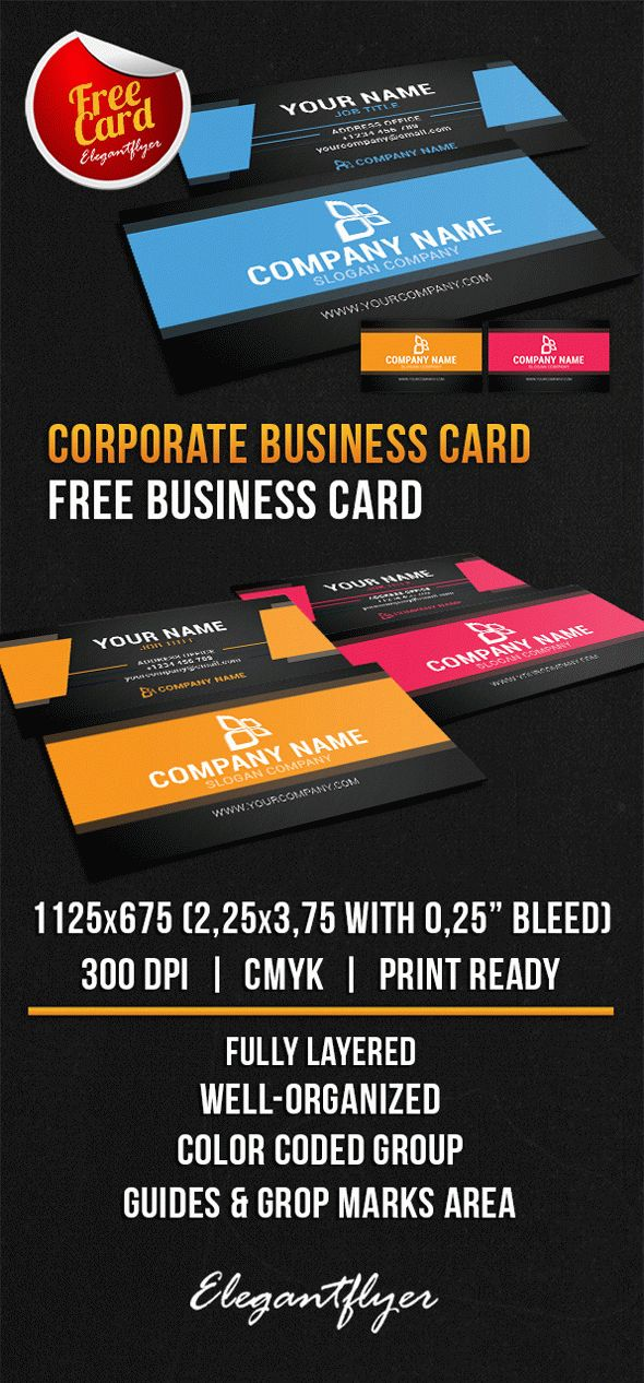 Corporate business card free psd template by elegantflyer for Free business card templates psd