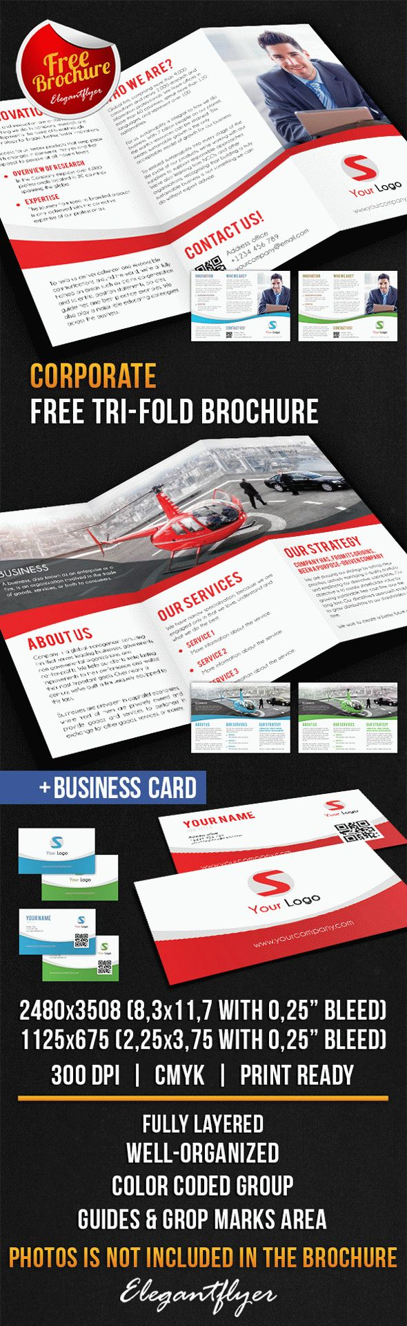 tri fold brochure photoshop template - corporate tri fold brochure free psd template by