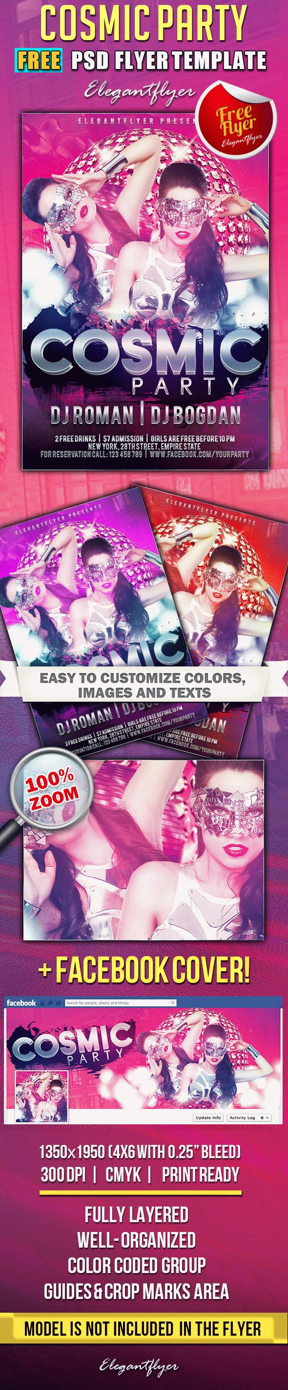 Cosmic Party – Free Flyer PSD Template + Facebook Cover