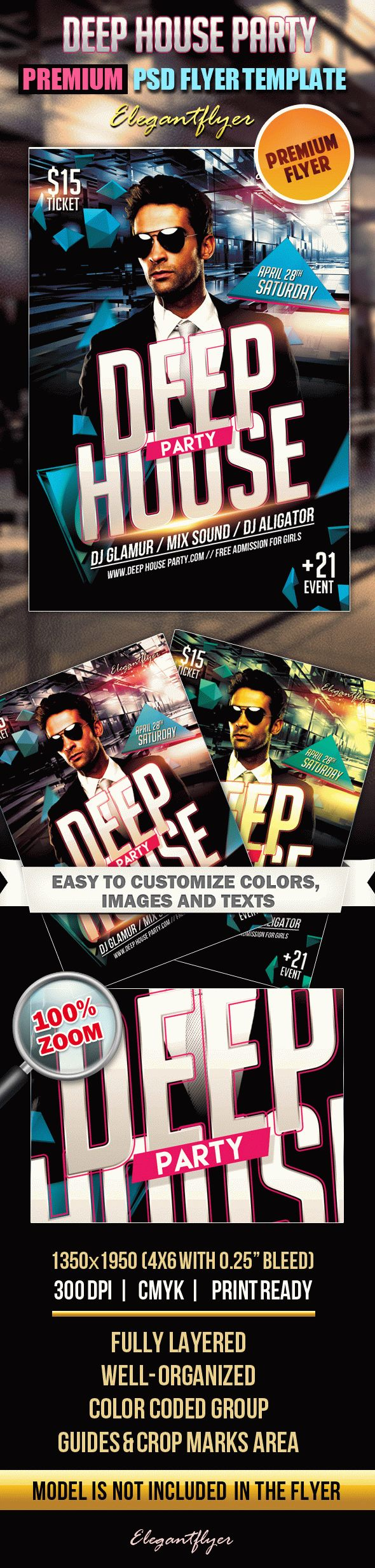 Deep House Party – Premium Club flyer PSD Template