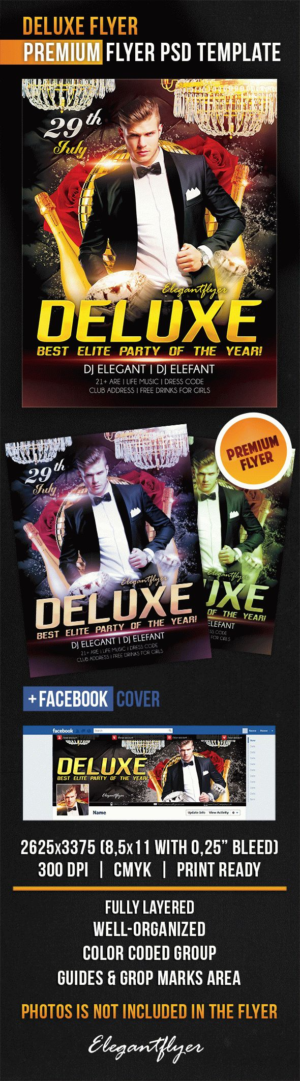 Deluxe Flyer – Flyer PSD Template + Facebook Cover