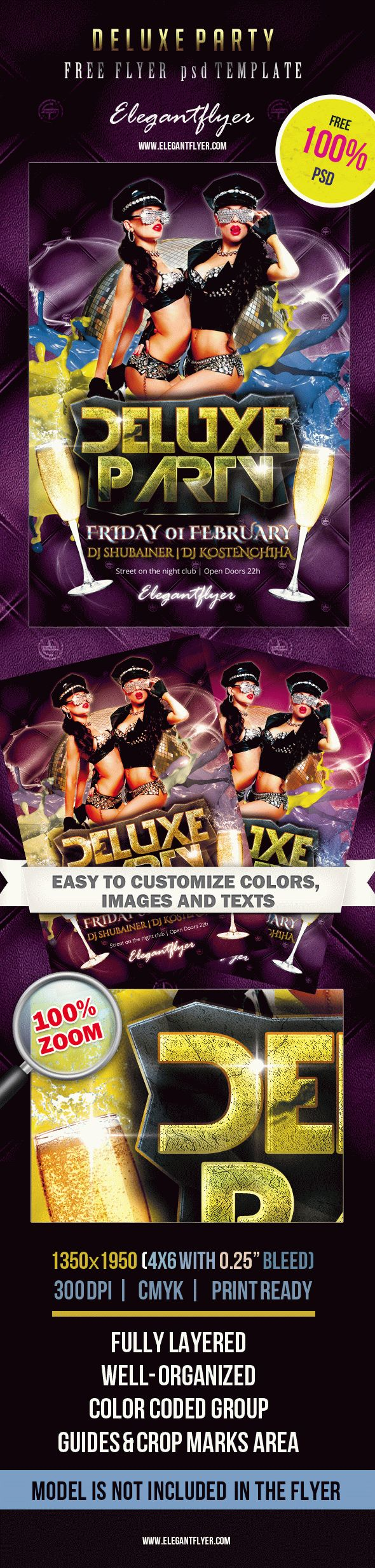 Deluxe Party – Free Club Flyer PSD Template