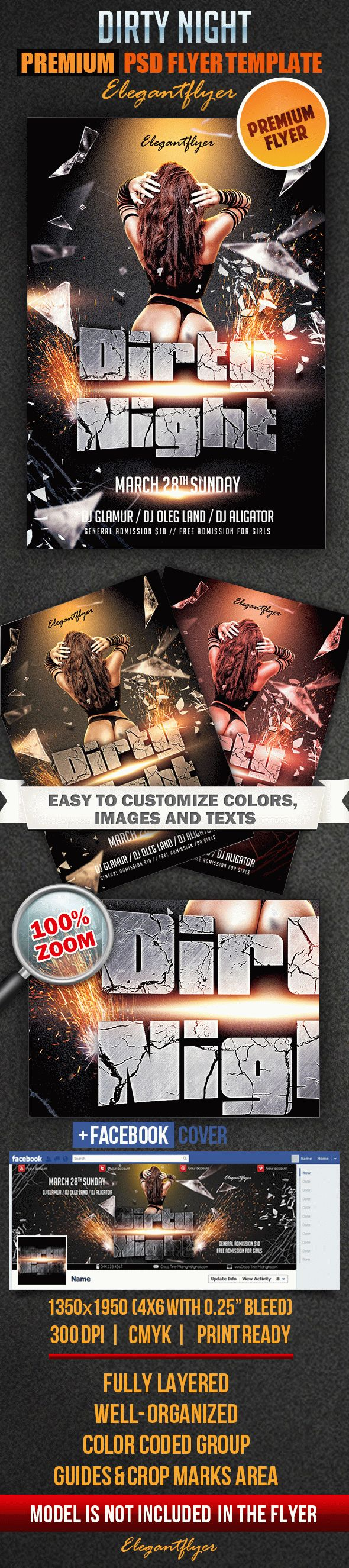 Dirty Night – Flyer PSD Template + Facebook Cover