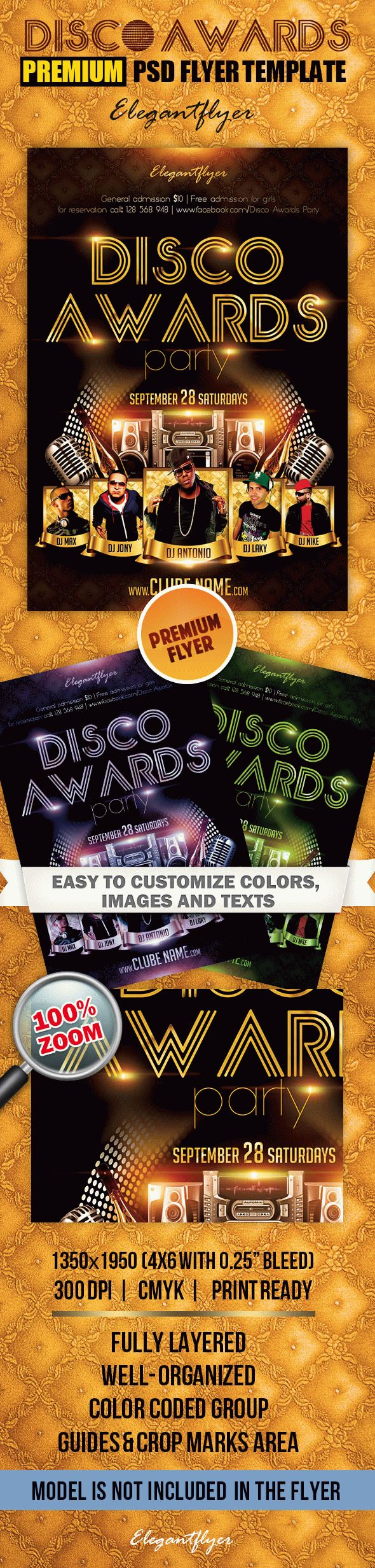 Disco Awards Party – Premium Club flyer PSD Template