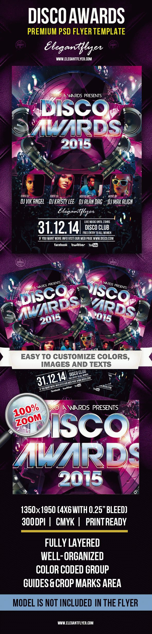 disco awards premium club flyer psd template