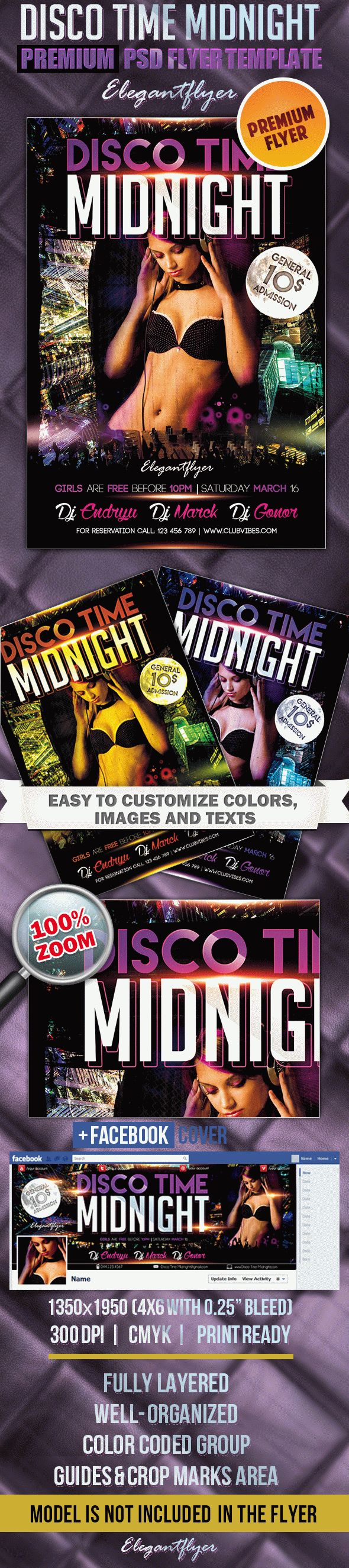 Disco Time Midnight – Flyer PSD Template + Facebook Cover