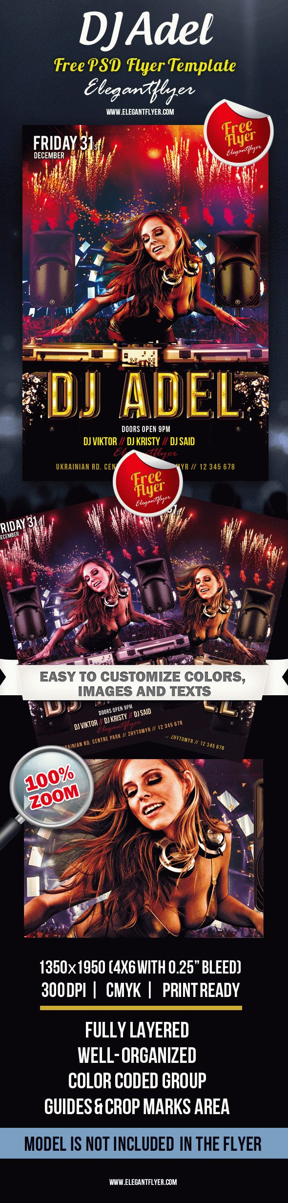 DJ Adel – Club and Party Free Flyer PSD Template