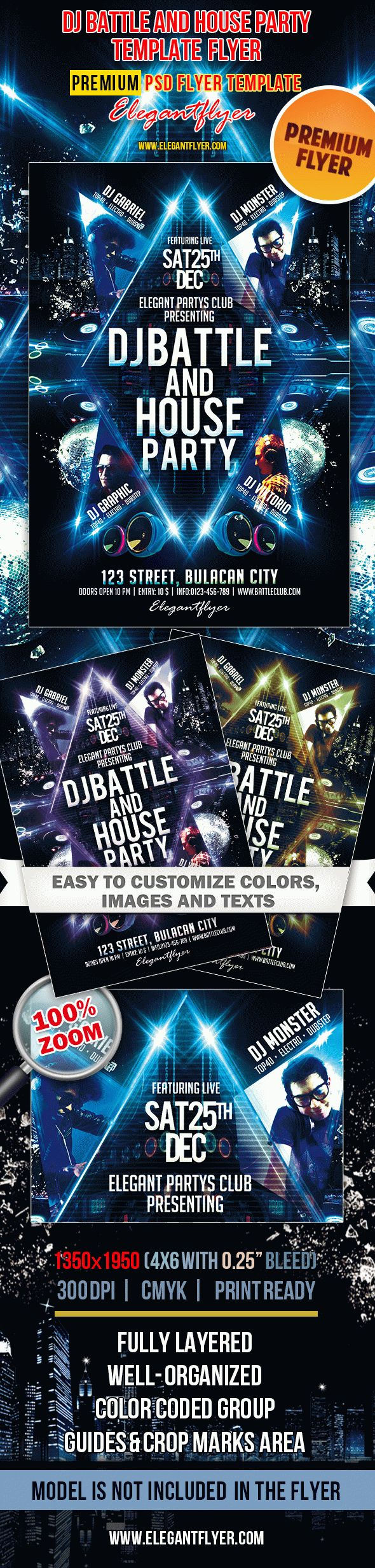 Dj Battle and House Party – Premium Club flyer PSD Template